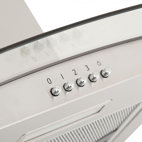 Willow WCH60GSS 60cm Curved Glass Cooker Hood in Stainless Steel