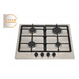 NEW Willow WGH60SSU 60cm Built-in Stainless Steel Gas hob with Cast Iron Pan Supports